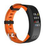 Bratara fitness Smartband P5 Plus, display color cu GPS integrat, din silicon, Culoare Negru cu Portocaliu