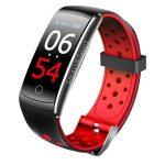 Bratara fitness TechONE™ Q8S, color, heart rate, tensiune, IP68 submersibilia, Rosu/Negru
