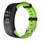 Bratara fitness Smartband P5 Plus, display color cu GPS integrat, din silicon, Culoare Negru cu Verde